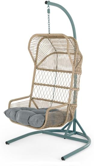 An Image of Lyra Garden Hanging Chair, Grey and Blue