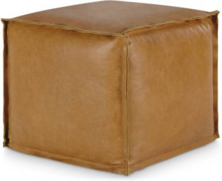An Image of Kirby Square Pouffe, Tan Leather