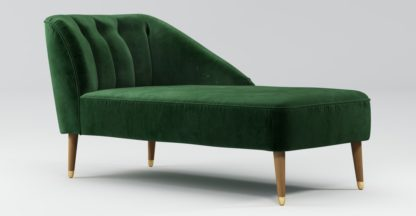 An Image of Custom MADE Margot Right Hand Facing Chaise, Forrest Green Velvet, Light Wood Brass Leg