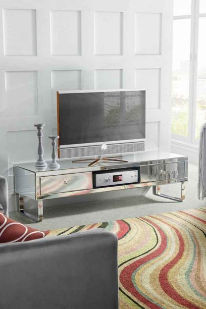An Image of Chelsea Mirrored Media TV Cabinet