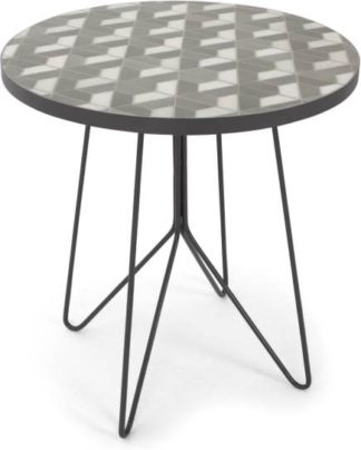 An Image of Indra Garden bistro table, grey and white marble