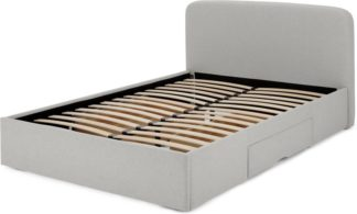 An Image of MADE Essentials Besley King Size Bed with Storage Drawers, Hail Grey
