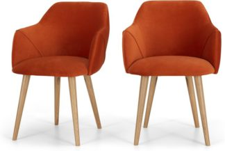 An Image of Set of 2 Lule Carver Dining Chairs, Flame Orange velvet and Oak