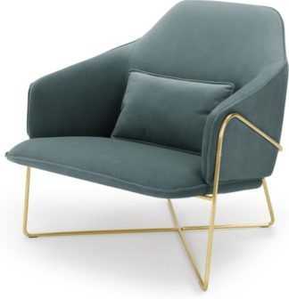 An Image of Stanley Accent Armchair, Marine Green Velvet