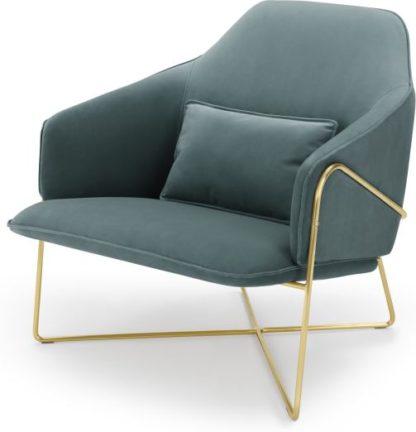 An Image of Stanley Accent Armchair, Marine Green Velvet