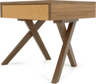 An Image of Darcey Bedside Table, Oak and Walnut