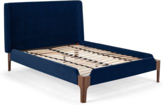 An Image of Roscoe Double Bed, Royal Blue Velvet