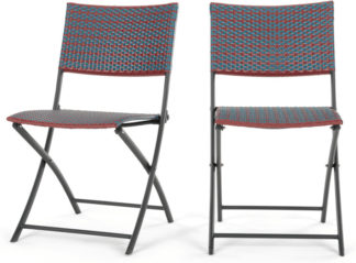 An Image of Set of 2 Pya Dining Chair, Rust Red and Blue