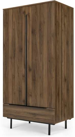 An Image of Damien Wardrobe, Walnut & Black