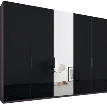 An Image of Caren 5 door 250cm Hinged Wardrobe, Graphite Grey Frame, Basalt Grey Glass & Mirror Doors, Standard Interior