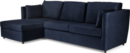 An Image of Milner Left Hand Facing Corner Storage Sofa Bed with Memory Foam Mattress, Regal Blue Velvet