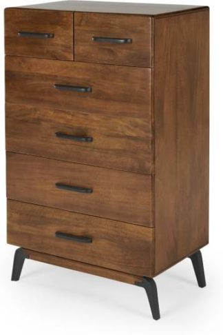 An Image of Lucien Tall Chest Of Drawers, Mango Wood