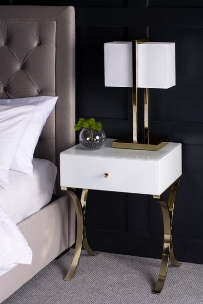 An Image of Aurelia White and Champagne Gold Bedside Table