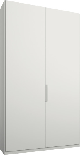 An Image of Caren 2 door 100cm Hinged Wardrobe, White Frame, Matt White Doors, Standard Interior