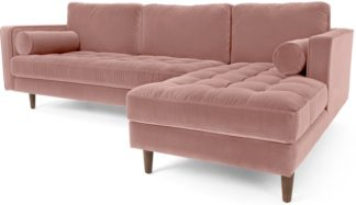 An Image of Scott 4 Seater Right Hand Facing Chaise End Corner Sofa, Blush Pink Cotton Velvet