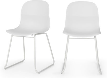 An Image of MADE Essentials Set of 2 Farah Dining Chairs, White