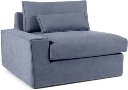 An Image of Trent Loose Cover Modular Left Hand Facing Sofa Arm, Washed Blue Cotton