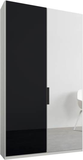 An Image of Caren 2 door 100cm Hinged Wardrobe, White Frame, Basalt Grey Glass & Mirror Doors, Premium Interior