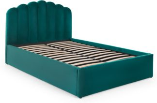 An Image of Delia Kingsize Bed with Ottoman Storage, Seafoam Blue Velvet