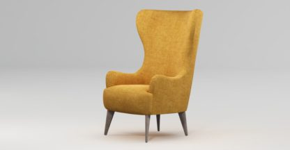 An Image of Custom MADE Bodil Accent Chair, Imperial Yellow with Light Wood Leg