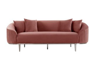 An Image of Ella Three Seat Sofa - Blush Pink - Polished chrome base