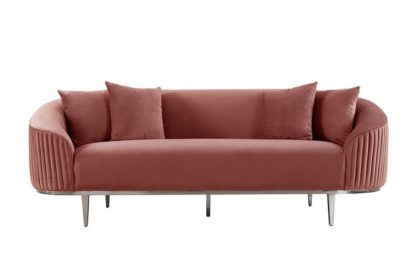 An Image of Ella Three Seat Sofa - Blush Pink - Polished chrome base