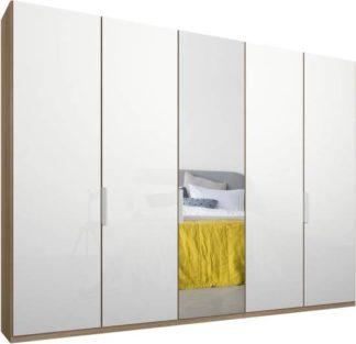 An Image of Caren 5 door 250cm Hinged Wardrobe, Oak Frame, White Glass & Mirror Doors, Premium Interior