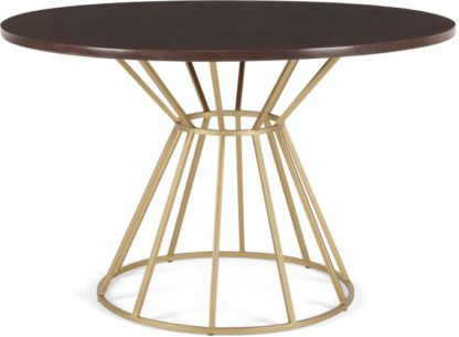 An Image of Khalida 4 Seat Round Dining Table, Dark Mango Wood and Brass