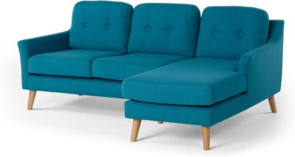 An Image of Rufus Right Hand Facing Chaise End Corner Sofa, Rich Azure