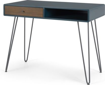 An Image of Ukan Desk, Blue and Dark Stain Oak