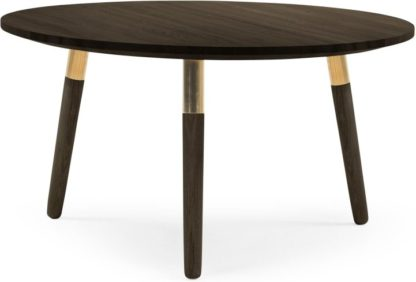 An Image of Range Round Coffee Table, Dark Stain Ash and Brass