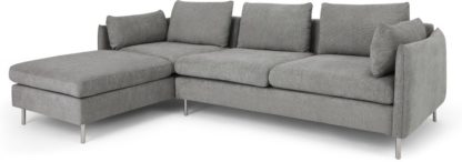 An Image of Vento 3 Seater Left Hand Facing Chaise End Corner Sofa, Linear Grey
