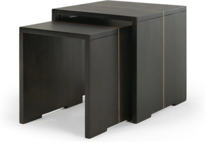 An Image of Anderson Set of 2 Nesting Tables, Grey Mango Wood and Copper