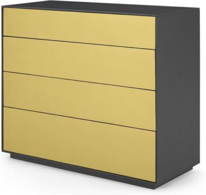 An Image of Jena Chest of Drawers, Grey Mango Wood and Brushed Brass