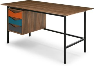 An Image of Louis Desk, Multi Colour and Walnut