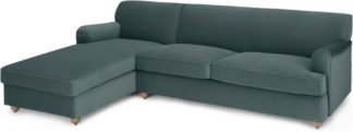 An Image of Orson Left Hand Facing Chaise End Sofa Bed, Marine Green Velvet