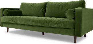 An Image of Scott 3 Seater Sofa, Grass Cotton Velvet
