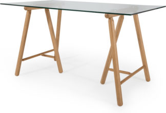 An Image of Philly Desk, Oak and Glass