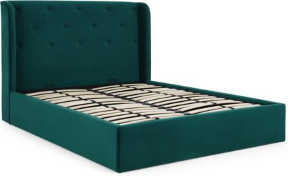 An Image of Ormond King Size Bed with Storage, Seafoam Blue Velvet