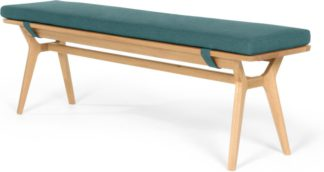 An Image of Jenson Bench, Oak and Mineral Blue