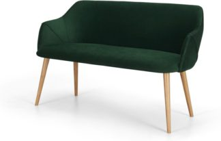 An Image of Lule Compact Dining Bench, Pine Green Velvet and oak
