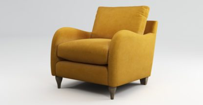 An Image of Custom MADE Sofia Armchair, Plush Tumeric Velvet with Light Wood Leg