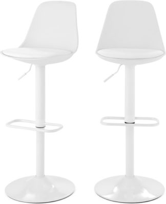 An Image of Set of 2 Zadie Adjustable Barstools, White
