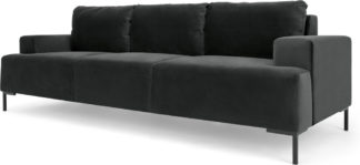 An Image of Frederik 3 Seater Sofa, Midnight Grey Velvet