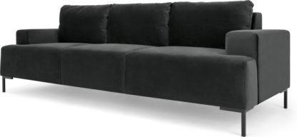 An Image of Frederik 3 Seater Sofa, Midnight Grey Velvet