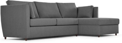 An Image of Milner Right Hand Facing Corner Storage Sofa Bed with Foam Mattress, Night Grey