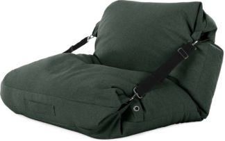An Image of Tuck Bean Bag Floor Chair, Woodland Green with Contrast Black Strap