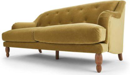 An Image of Ariana 3 Seater Sofa, Ochre Velvet