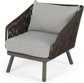 An Image of Alif Garden Armchair, Grey Eucalyptus Wood