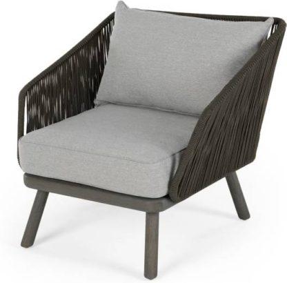 An Image of Alif Garden Armchair, Grey Eucalyptus Wood